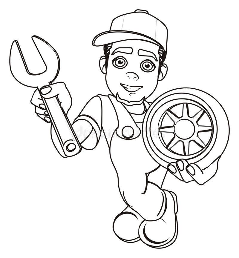 Mecânico de sorriso colorindo ilustração royalty free