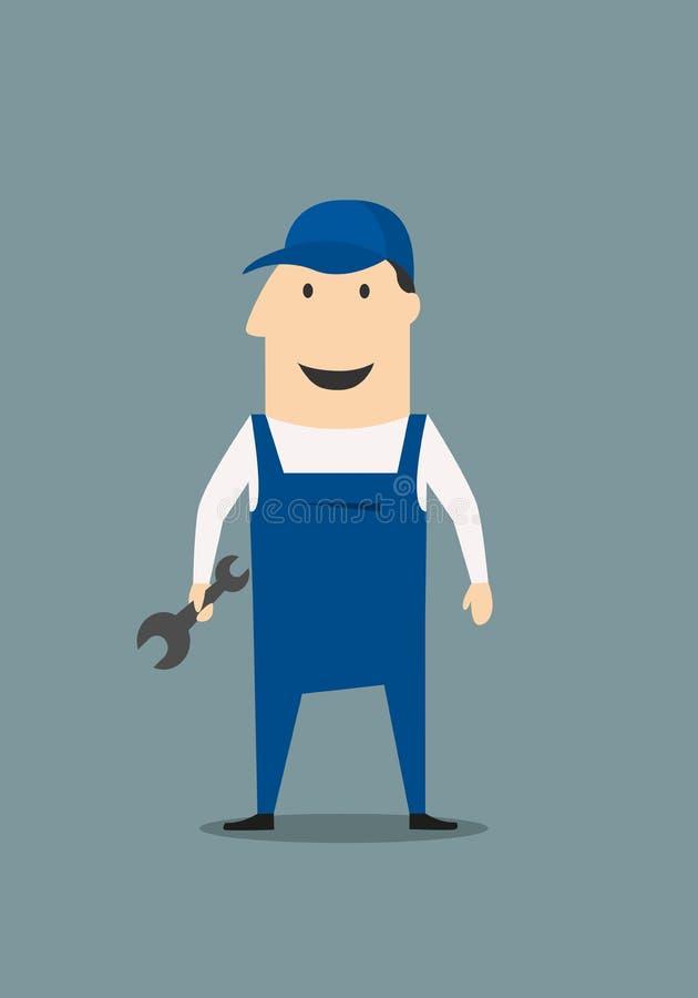 Mecânico dos desenhos animados ou homem acessível ilustração stock
