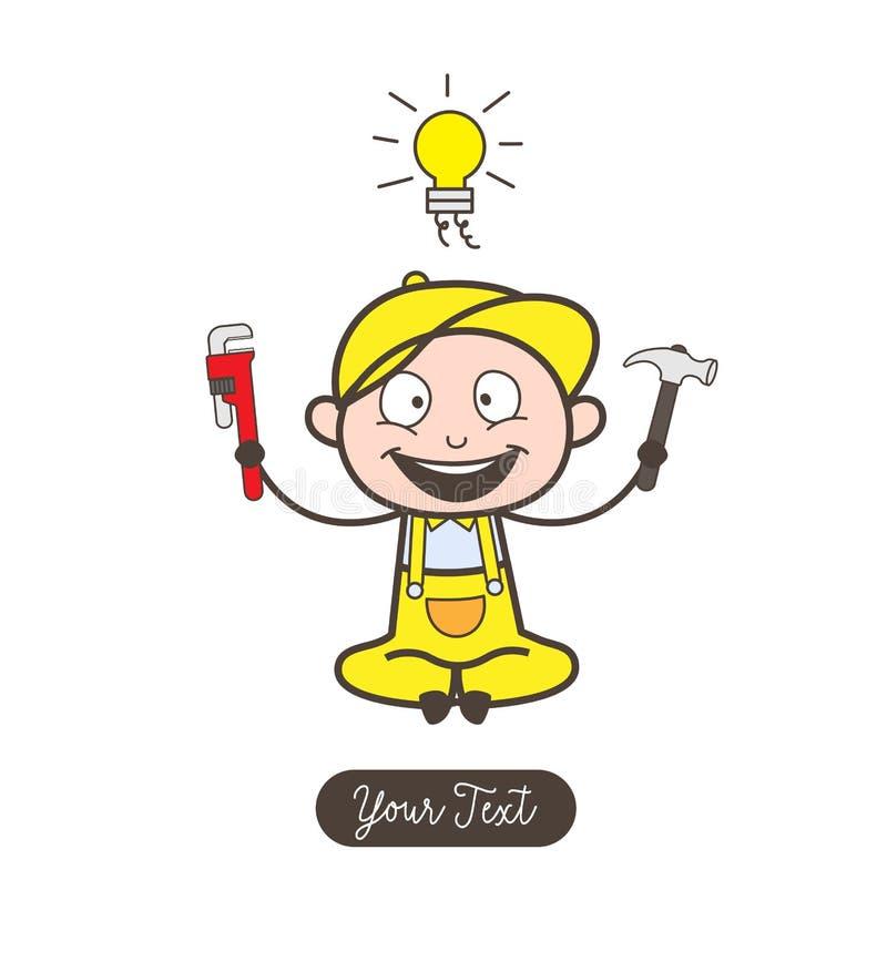 Mecânico feliz dos desenhos animados com vetor da ferramenta ilustração do vetor