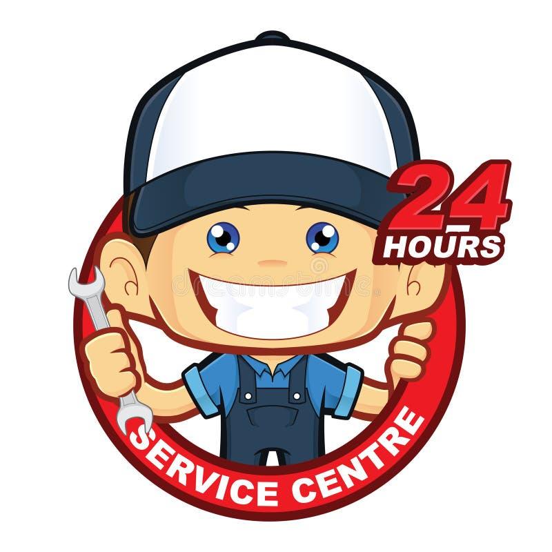 Mecânico 24 horas de centro de serviço ilustração stock