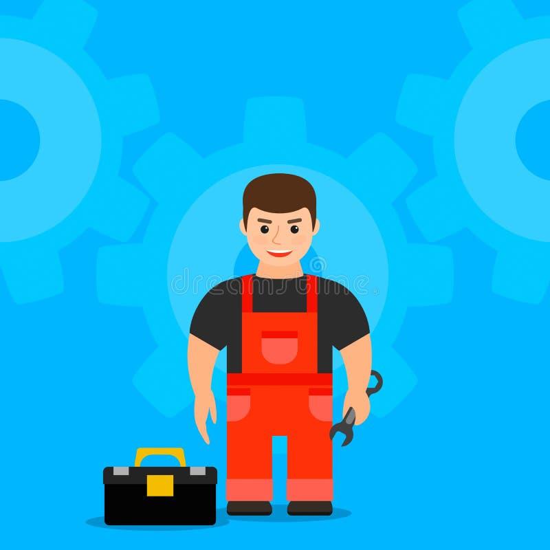 Mecânico masculino novo que guarda uma chave Vetor ilustração do vetor