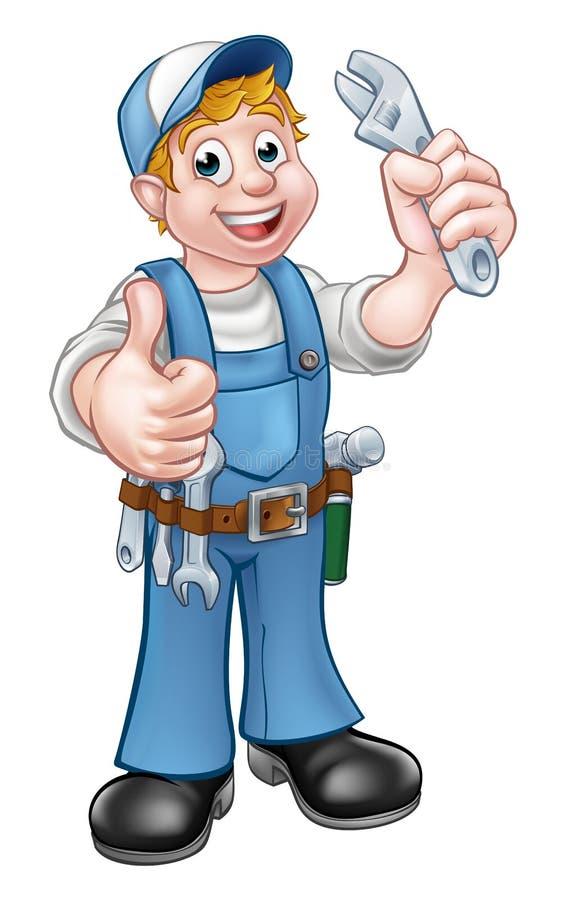 Mecânico ou encanador do personagem de banda desenhada ilustração stock