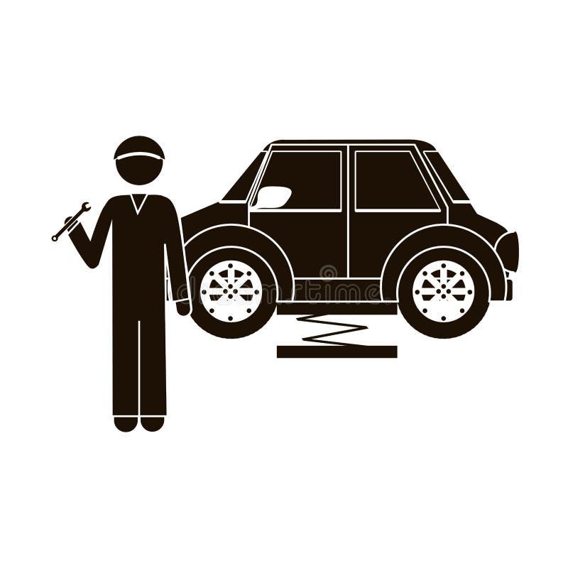 Mecânico preto da silhueta com chave inglesa e carro ilustração do vetor