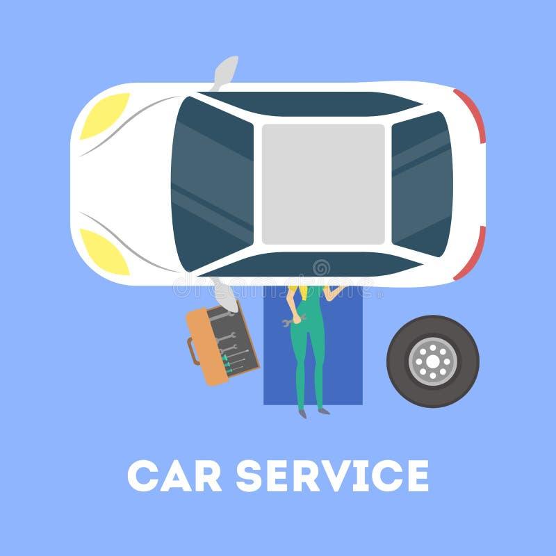 Mecânico que encontra-se sob o carro e que repara o automóvel ilustração royalty free