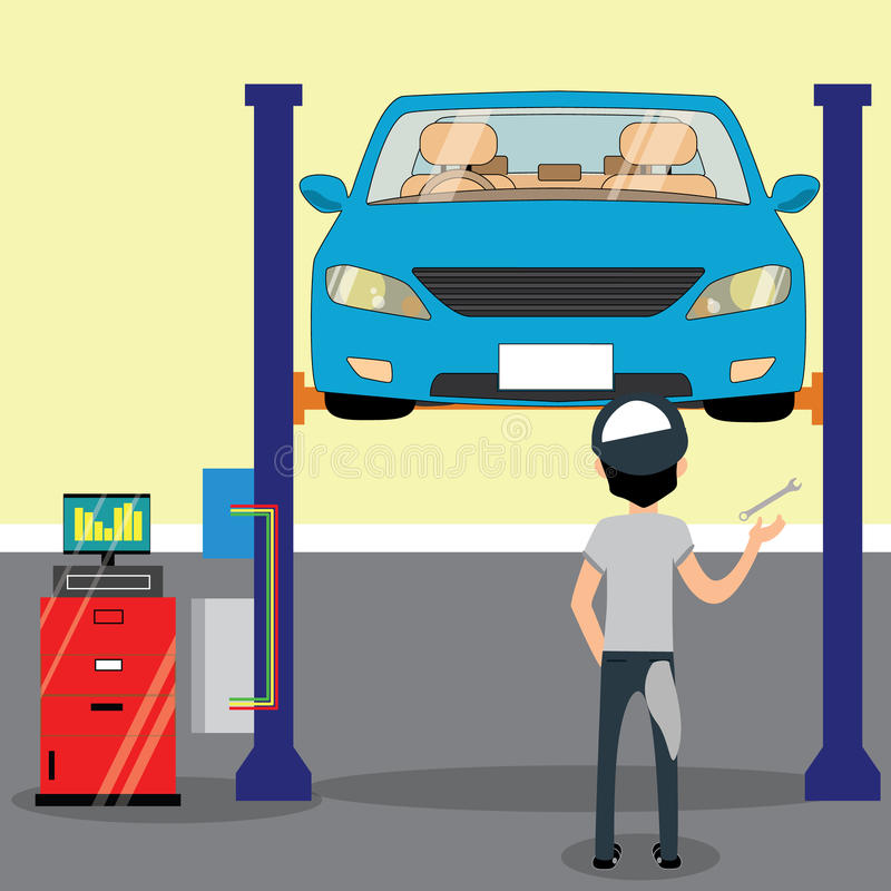 Mecânico que está sob o carro e a reparação ilustração royalty free
