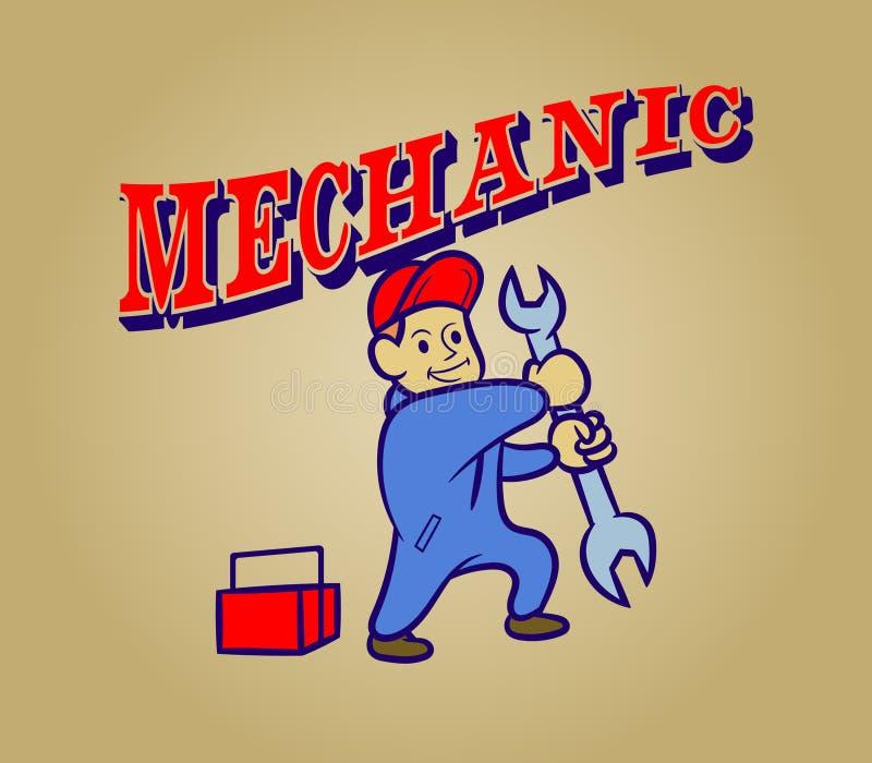 Mecânico Retro Cartoon ilustração royalty free
