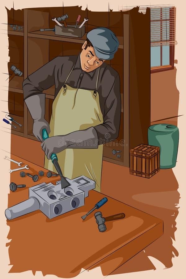 Mecânico retro que trabalha na garagem ilustração do vetor