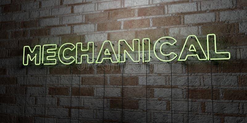 MECÂNICO - Sinal de néon de incandescência na parede da alvenaria - 3D rendeu a ilustração conservada em estoque livre dos direit ilustração royalty free