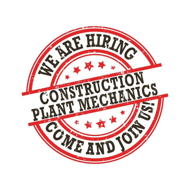 Mecânicos da planta da construção - nós estamos contratando ilustração stock