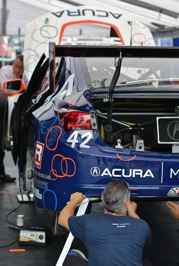 Mecânicos da raça de Acura fotografia de stock