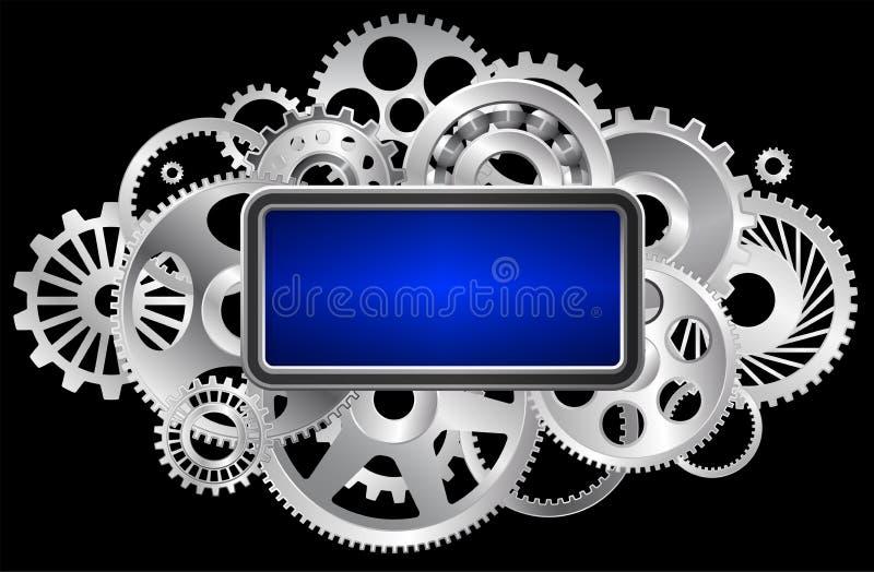 Mecânicos e mecanismo com quadros com um quadro para o texto ou as fotografias O título para o artigo ilustração royalty free