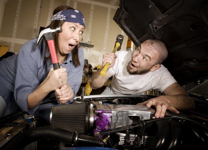 Mecânicos infelizes fotografia de stock