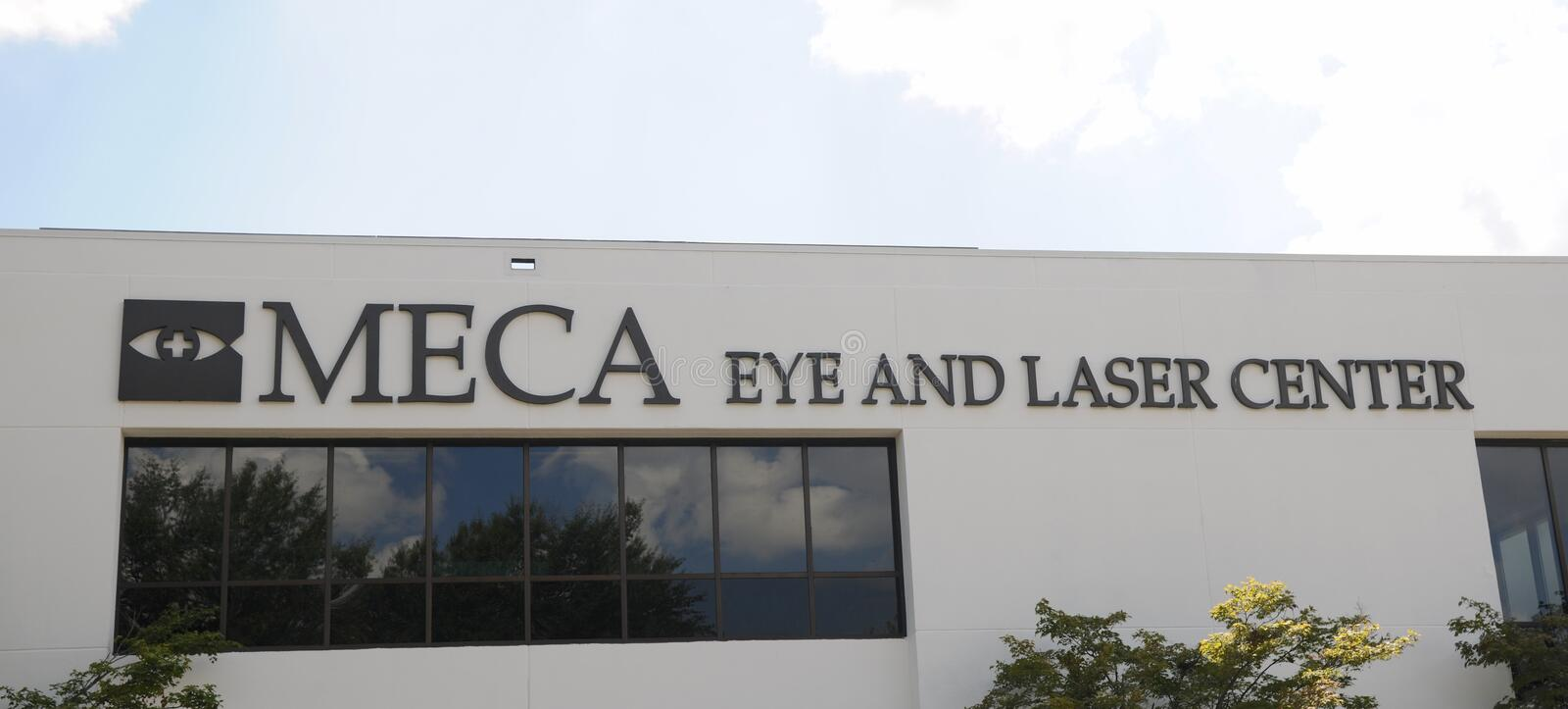 Meca Eye and Laser Center Sign. Meca Eye and Laser Center located in Memphis, TN royalty free stock image