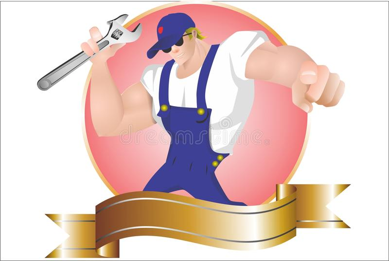 The Mechanic. Cartoon characters for comercial sign or loggo stock illustration