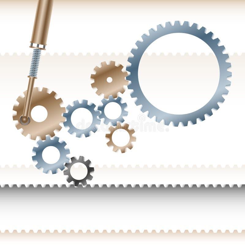Mecanismo Backgroun del negocio del trabajo en equipo de la cooperación del transportador de los engranajes ilustración del vector