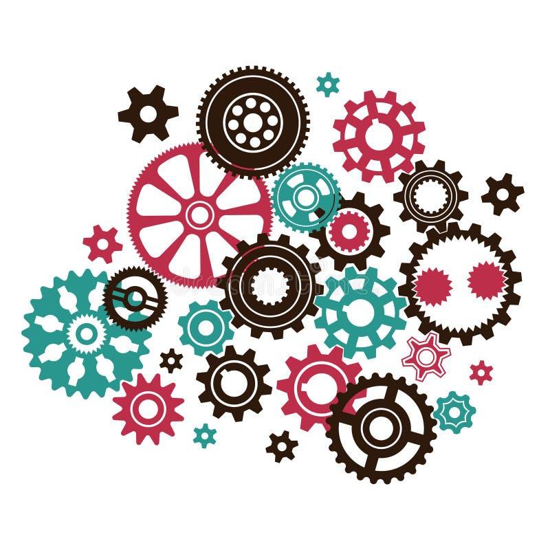 Mecanismo complejo complicado del reloj stock de ilustración