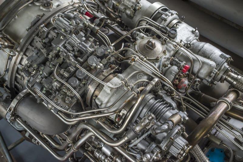 Mecanismo complexo, motor do helicóptero, close-up imagem de stock