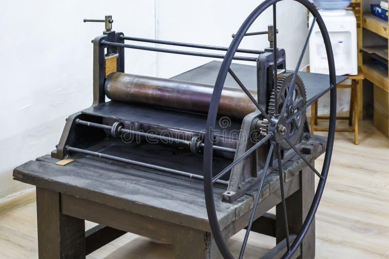 Mecanismo de engranajes Detalles de la m?quina antigua vieja para hacer grabados imágenes de archivo libres de regalías