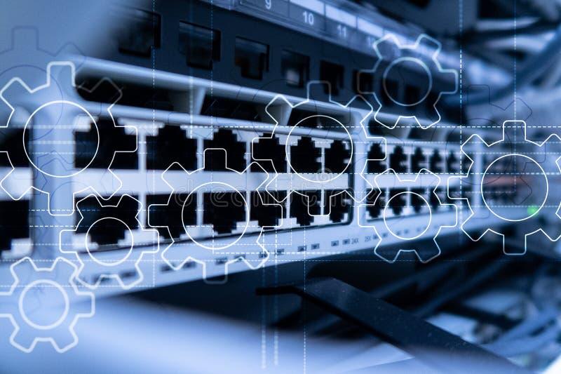 Mecanismo de engranajes, transformación digital, integración de datos y concepto de la tecnología digital imagenes de archivo