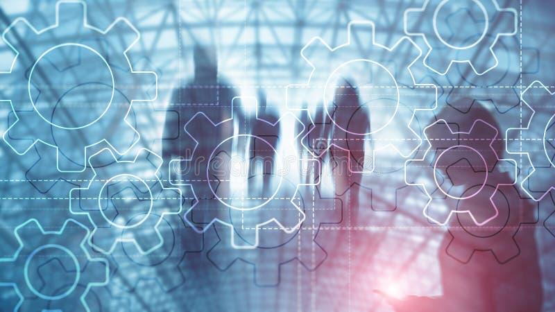 Mecanismo de engrenagens da exposição dobro no fundo borrado Conceito da automatização do negócio e de processo industrial imagens de stock royalty free