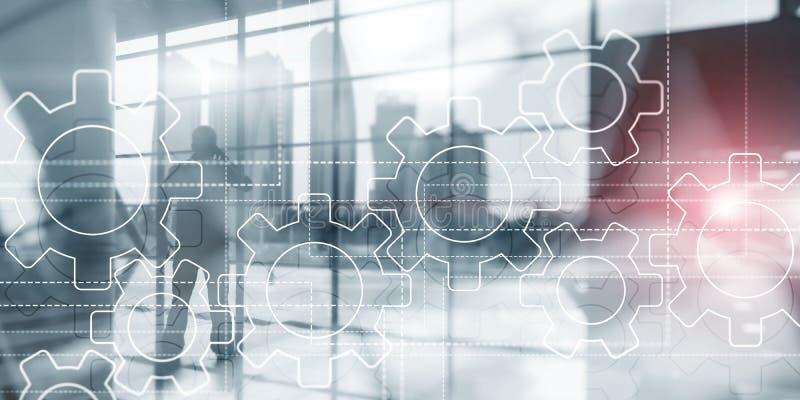 Mecanismo de engrenagens na tela virtual Executivos e cidade moderna no fundo fotografia de stock