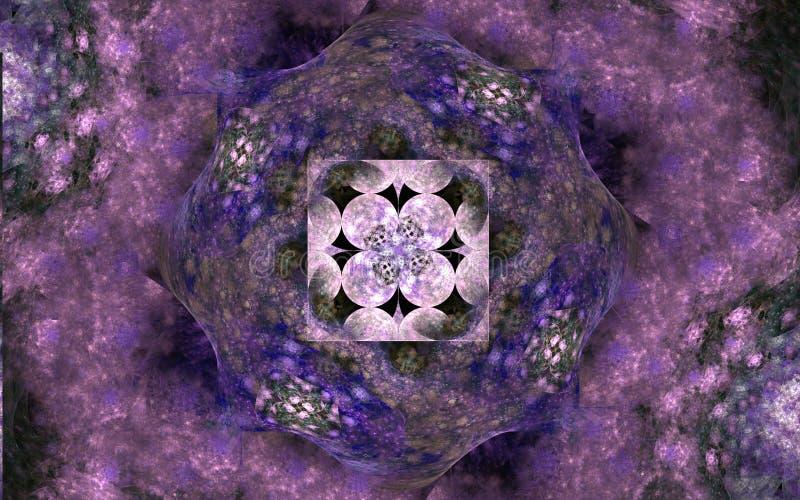 Mecanismo de la fantasía Figuras abstractas en fondo negro Fractal generado por ordenador en los colores del azul, color de rosa  ilustración del vector
