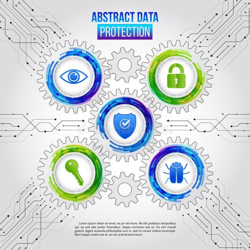 Mecanismo de seguridad abstracto que se hace de los engranajes, llave de los iconos, shi ilustración del vector