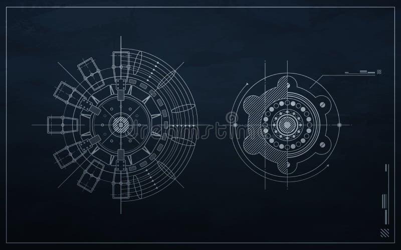 Mecanismo del gráfico en un fondo oscuro. ilustración del vector