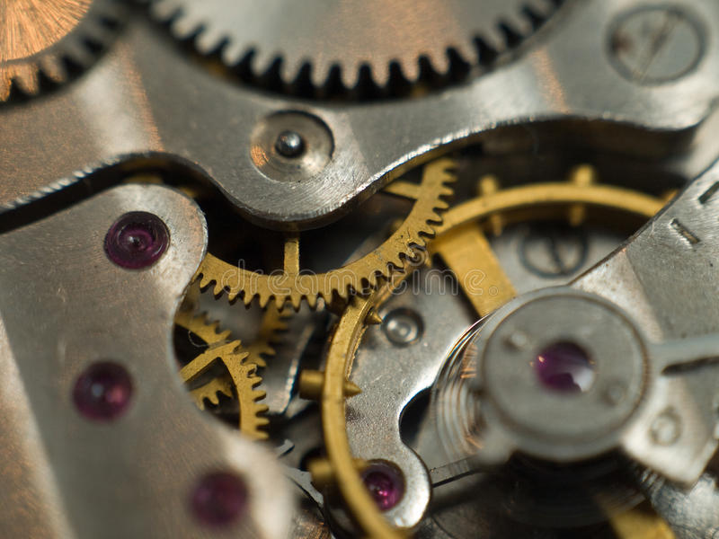 Mecanismo del reloj foto de archivo