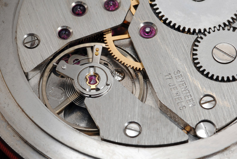 Mecanismo del reloj viejo fotos de archivo libres de regalías