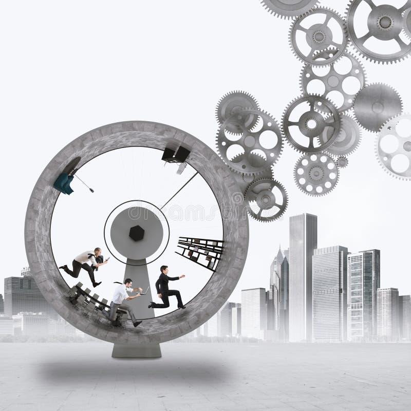mecanismo del trabajo en equipo de la representación 3D fotos de archivo