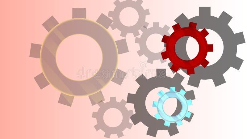 mecanismo Diseño del modelo de engranajes stock de ilustración