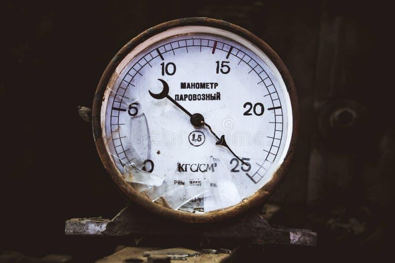 Mecanismo do calibre para a locomotiva de medição foto de stock