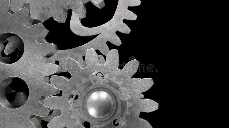 Mecanismo do metal da engrenagem do aço ilustração stock