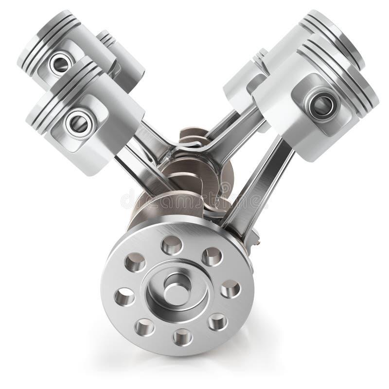 Mecanismo do motor de pistões V6 do eixo de manivela ilustração do vetor