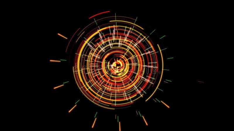 Mecanismo futurista abstrato do maquinismo de relojoaria que incandesce com cor vermelha e verde ilustração do vetor