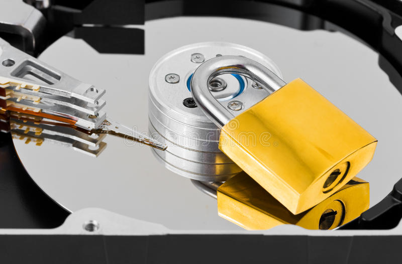 Mecanismo impulsor duro y bloqueo del ordenador foto de archivo