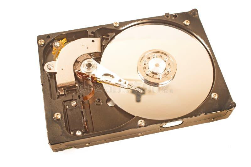 Mecanismo interno do disco rígido isolado no branco foto de stock