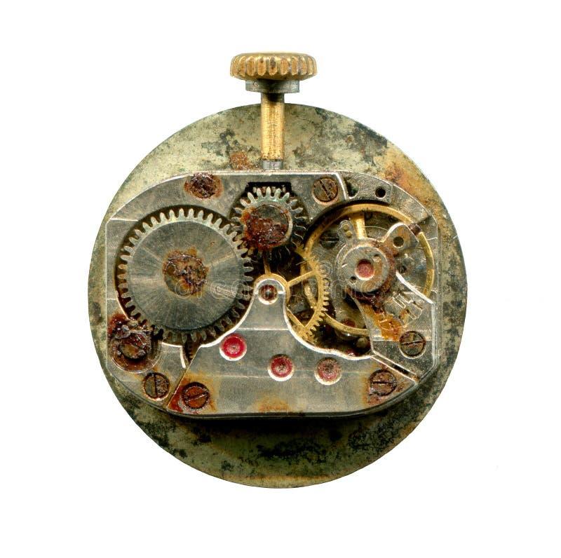 Mecanismo oxidado do relógio velho isolado no fundo branco Elemento de Steampunk para o projeto fotografia de stock