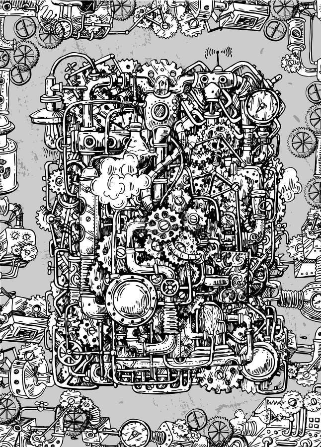Mecanismo tirado mão do vetor do estilo de Steampunk ilustração stock