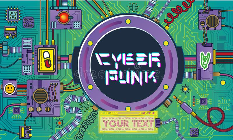 mecanismos de los robots del Cyberpunk de la ciencia y detalles retros de las máquinas del arte pop de la nave espacial retro stock de ilustración