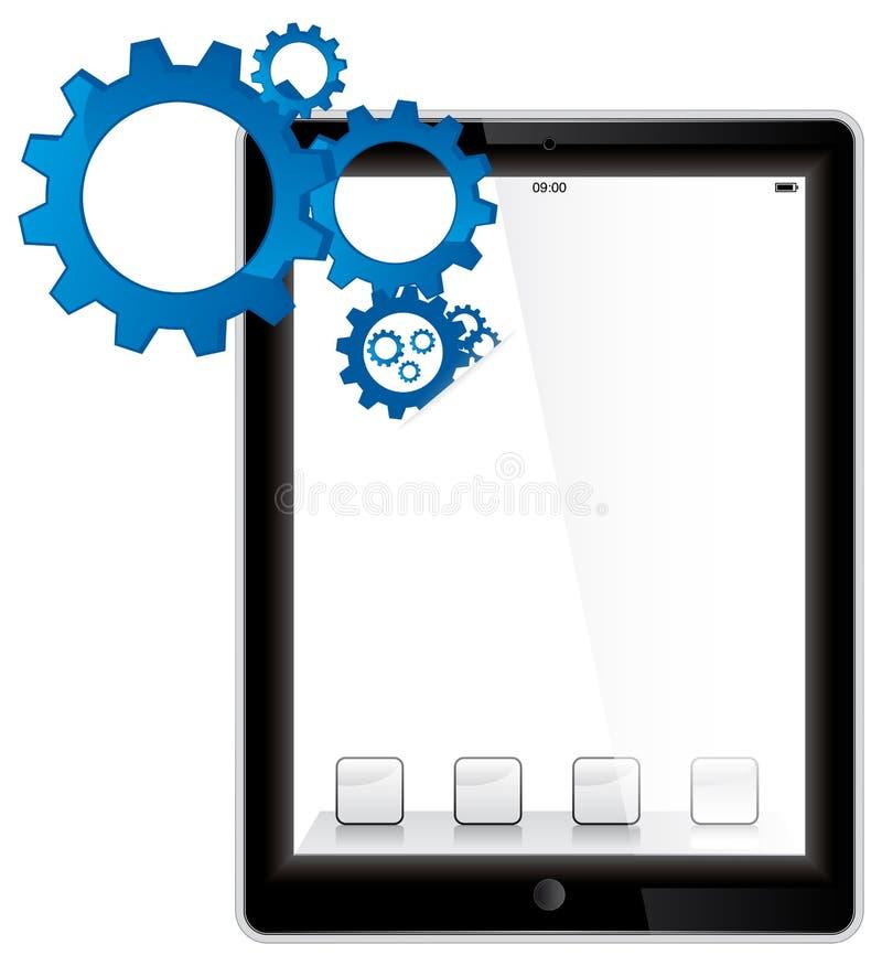 mecanismos del ordenador de la tablilla stock de ilustración