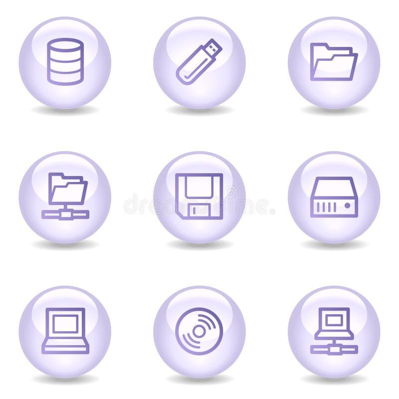 Mecanismos impulsores e iconos del Web del almacenaje, serie brillante de la perla libre illustration