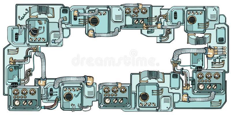 Mecanismos y máquinas de los robots del Cyberpunk Detalles del spacecr ilustración del vector