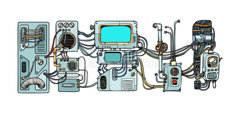 Mecanismos y máquinas de los robots del Cyberpunk Detalles del spacecr stock de ilustración
