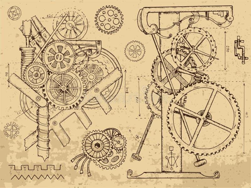 Mecanismos y máquinas viejos en estilo del steampunk ilustración del vector