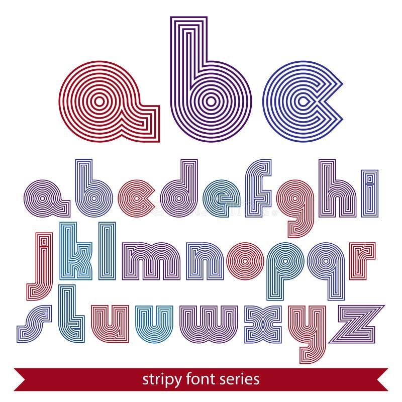 Mecanografiado rayado inusual elegante, colorido alineado alrededor de letras libre illustration