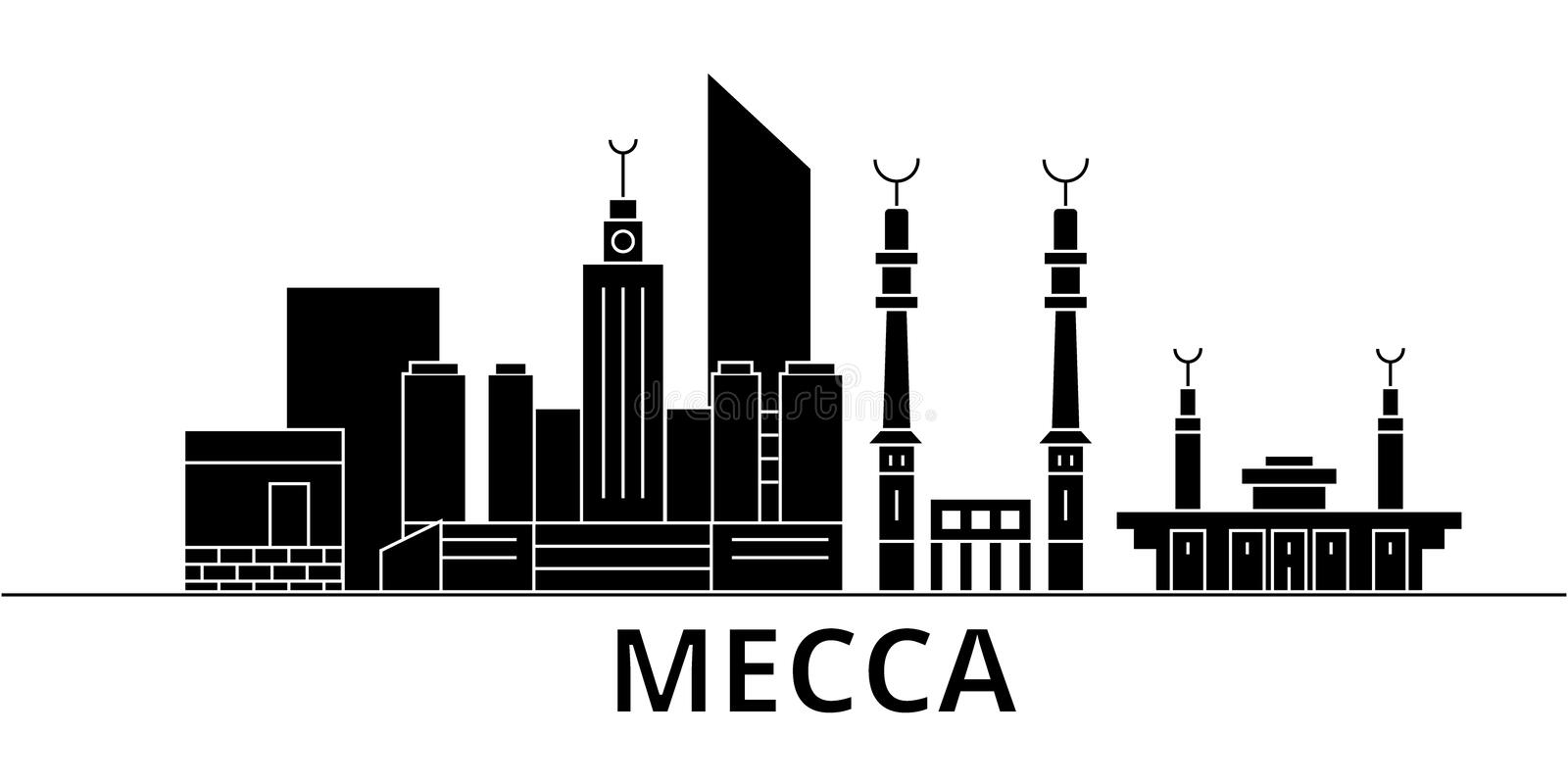 Mecca architecture vector city skyline, travel cityscape with landmarks, buildings, isolated sights on background. Mecca architecture vector city skyline, black vector illustration