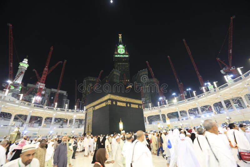 Mecca, Saudi Arabia : 24/07 /2019 : Pilgrims of Haj performing tawaf and praying at Masjidil Haram during Hajj Season. Mecca, Saudi Arabia. Pilgrims stock images