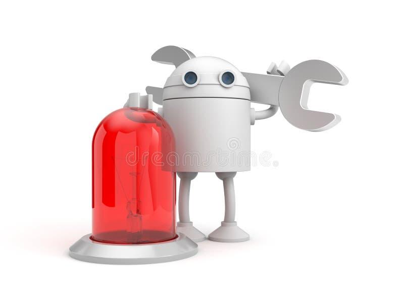 Meccanico del robot con la lampada rossa royalty illustrazione gratis